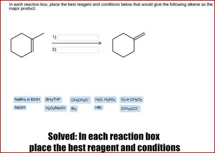 In each reaction box