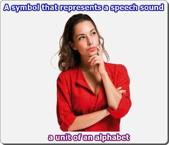 symbol that represents a speech sound